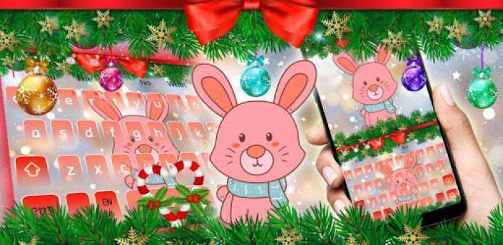 Cute Bunny Christmas Keyboard Theme apk