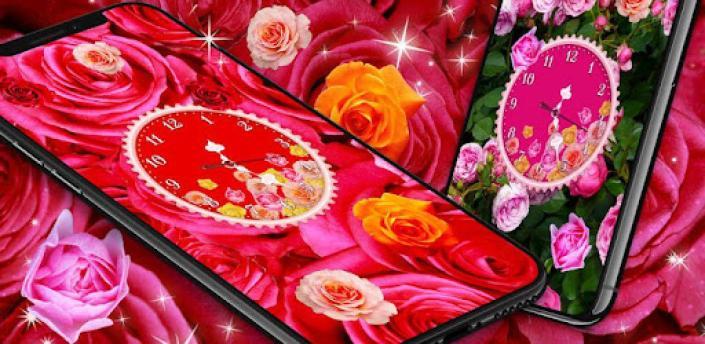 Rose Clock Live Wallpaper 🌹 4K Wallpapers Themes apk
