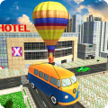 Flying Air Balloon Bus Adventure Icon