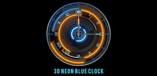 3D Neon Blue Clock apk