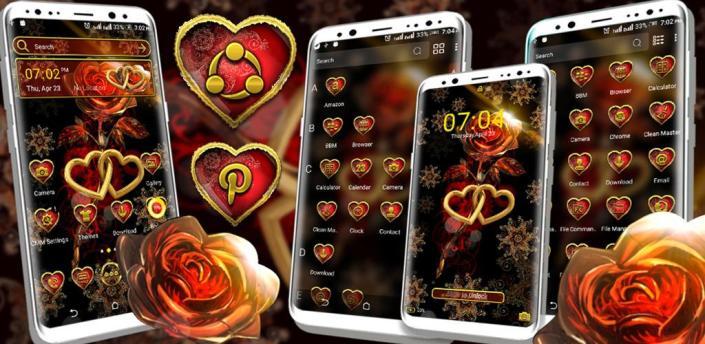 Golden Heart Rose Launcher Theme apk