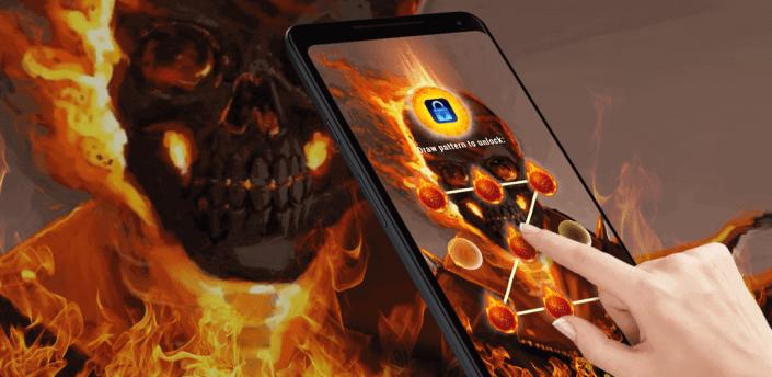 (FREE) Fire Flame Skull - App Lock Master Theme apk