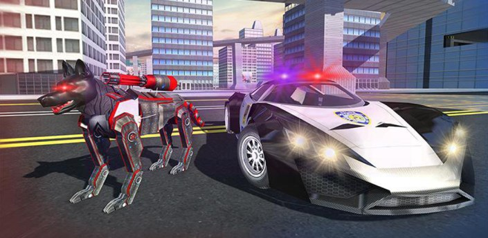 US Police Cop Dog Robot Transform: Robot Car Wars apk