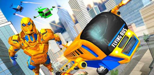 Flying Bus Robot Transform War: Robot Hero Game apk