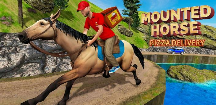 Mounted Horse Riding Pizza Guy: Food Delivery Game apk