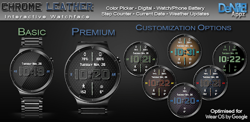 Chrome Leather HD Watch Face Widget Live Wallpaper apk