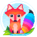 Pixel Fox - Color by Number Family Coloring Book Icon
