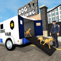 Police dogs van driver: Transport truck games Icon
