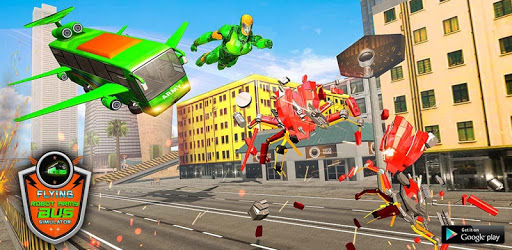 Flying Bus Army Robot Hero : Robot Games apk