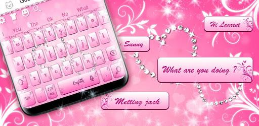 Beautiful Pink Heart Sms Keyboard Theme apk