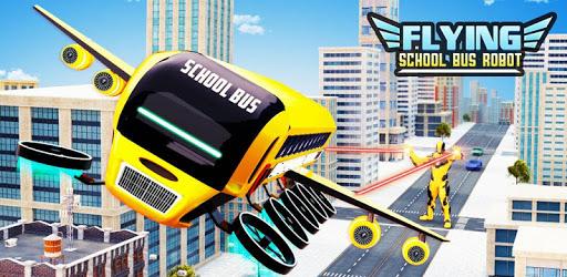 Flying School Bus Robot: Hero Robot Games apk