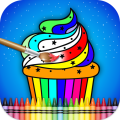Coloring Book for Food kitchen Icon