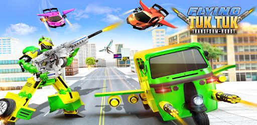 Flying Tuk Tuk Robot Auto Rickshaw Driving Games apk