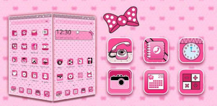 Beautiful Pink Polka Theme apk