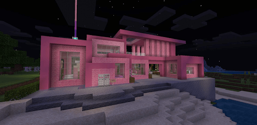 Pink house with furniture. Craft maps and mods apk