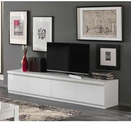 meuble tv 4 portes roma laque blanc