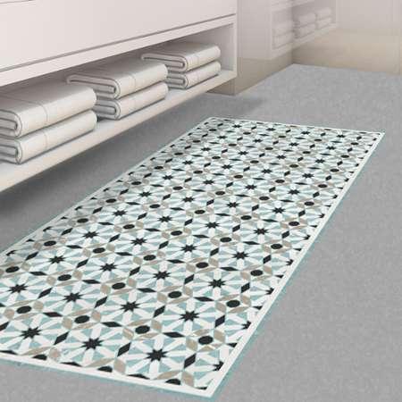 floorart tapis vinyle rania bleu noir 80x300 cm