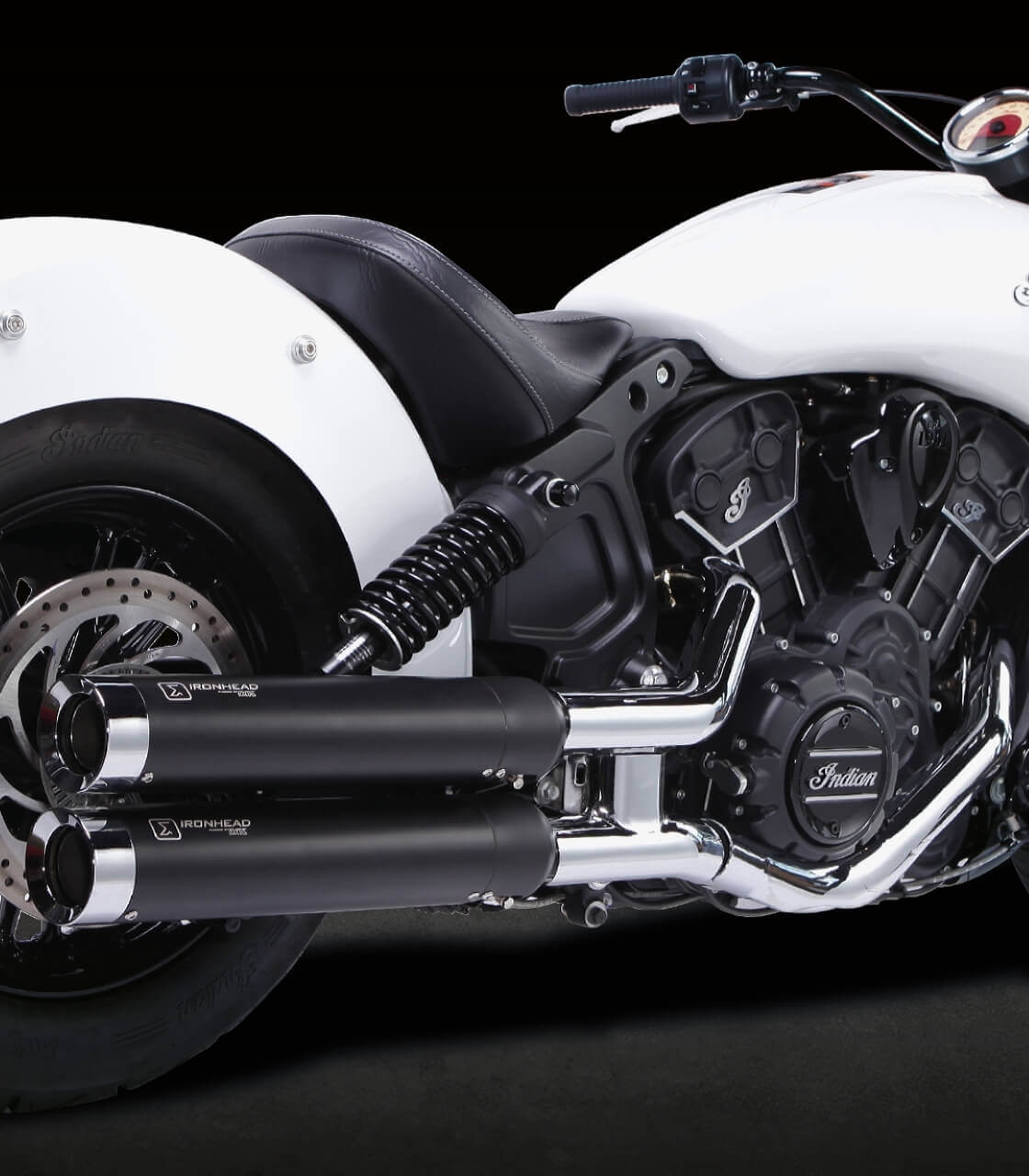 ironhead hc1 2b exhaust for indian scout scout bobber 2015 19 color black