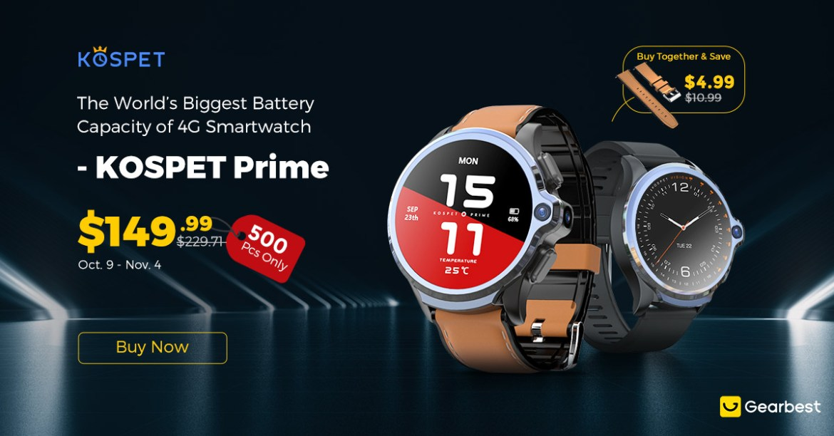 Gearbest KOSPET Prime 4G Smart Watch Phone:Low As $149.99. promotion
