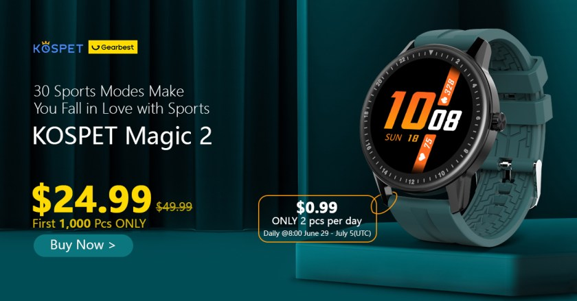 Gearbest Kospet MAGIC 2 1.3 inch Smart Watch 30 Sport Modes HD 360 x 360 Resolution Screen IP67 Waterproof Bluetooth 4.0 - Multi Green Watch Extra Black Strap promotion