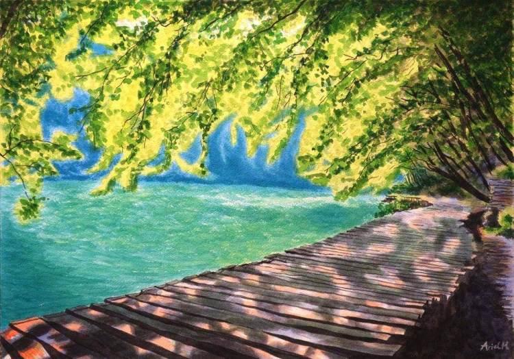 [那些畫水彩的日子] 普利特維采湖群國家公園 – 4開/水彩與壓克力