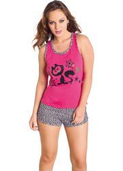 pijama pink/estampado com estampa frontal