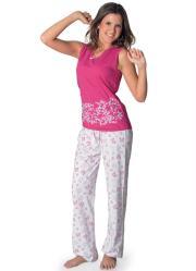 pijama regata e calça pink/branco