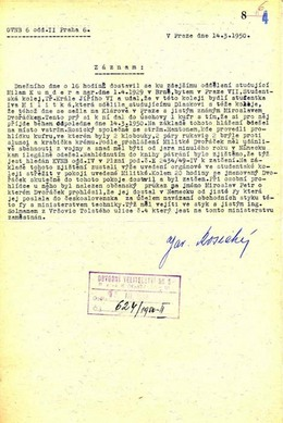Policejni protokol, který dokládá, že Milan Kundera nahlásil na policii agenta Miroslava Dvořáčka