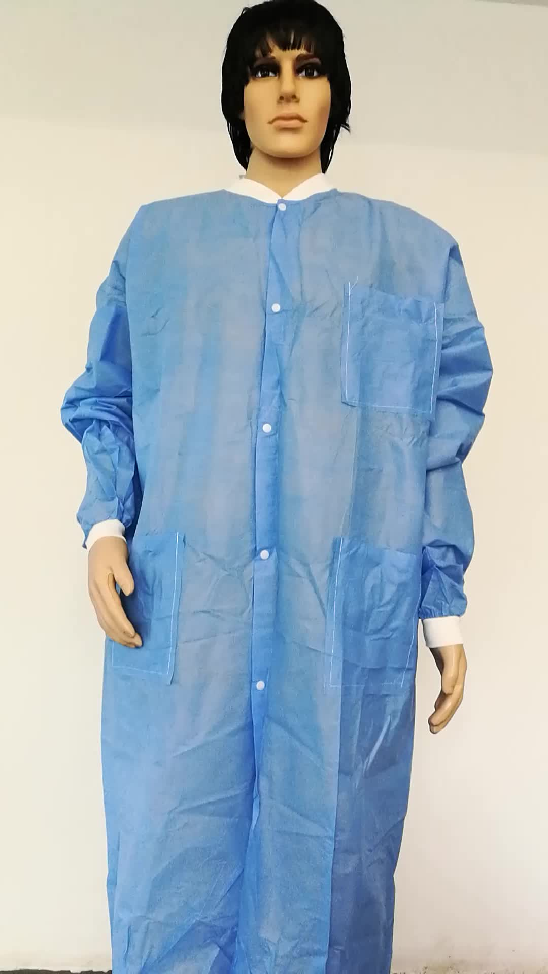 Iso Ce Fda Protective Sms Non Woven Cheap Disposable Lab Coats Wholesale With Knitted Cuffs