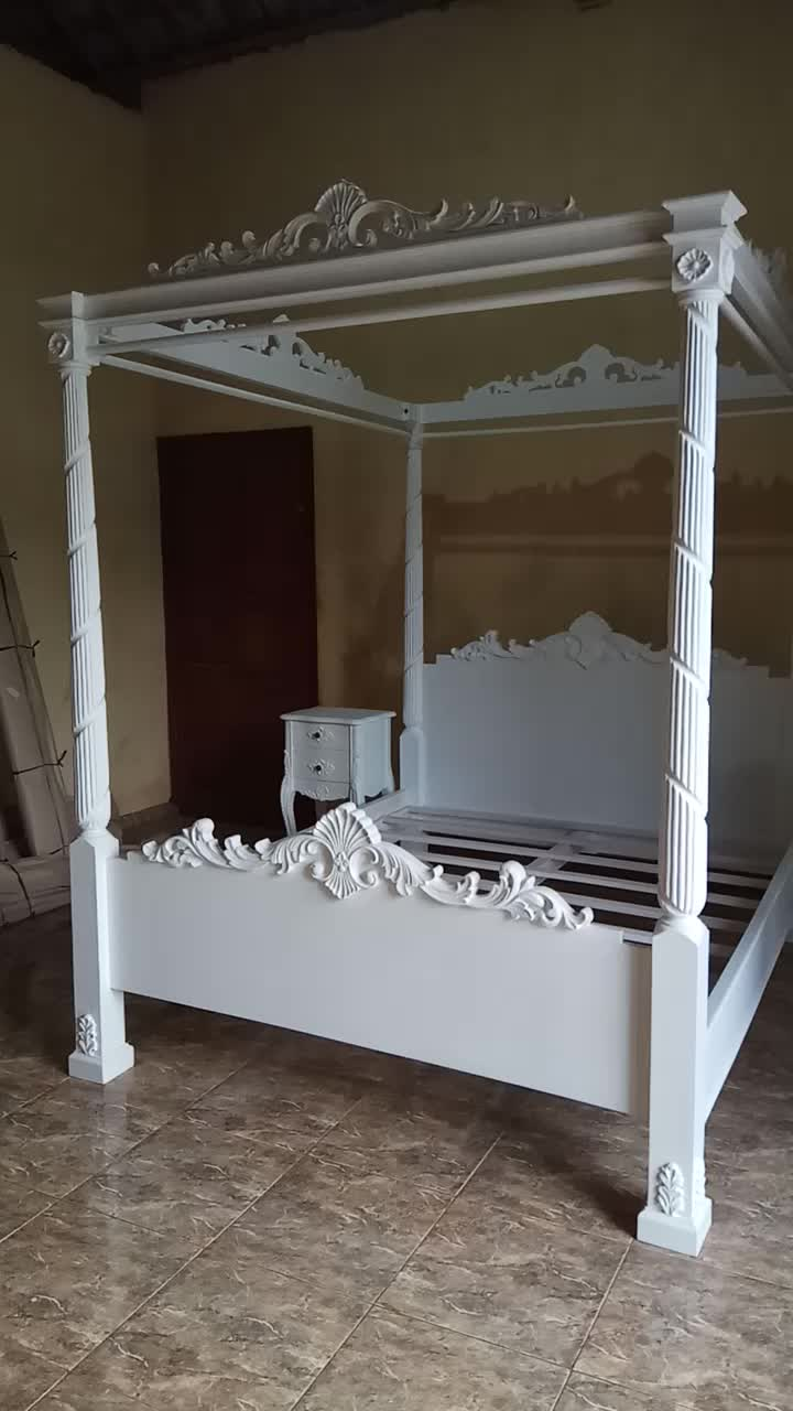 Solid Wooden French Style Antique White Four Poster Canopy