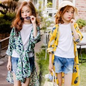 亲子装女童印花薄款蝴蝶结防晒衣外套韩版中长款洋气防紫外线上衣