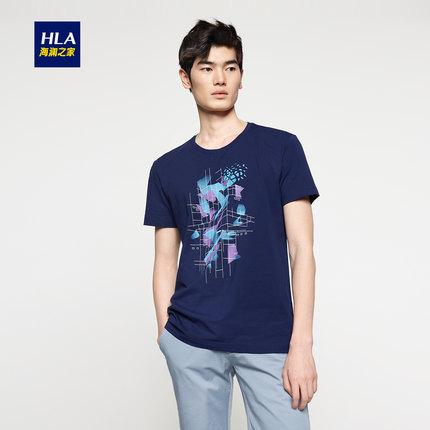 HLA/海澜之家印花t恤2017夏季新品藏青圆领t恤短袖男