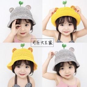 婴儿儿童女童草帽春夏季可爱男童太阳沙滩帽宝宝渔夫帽遮阳可折叠