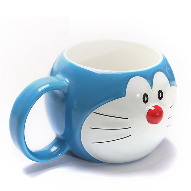 Duo a dream blue mug cup ceramic mug cartoon cat Doraemon shape surrounding  expression cup glass