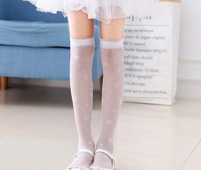 Girls Stockings Baby Childrens Socks Over The Knee Summer Thin Section Crystal High Socks Half Length