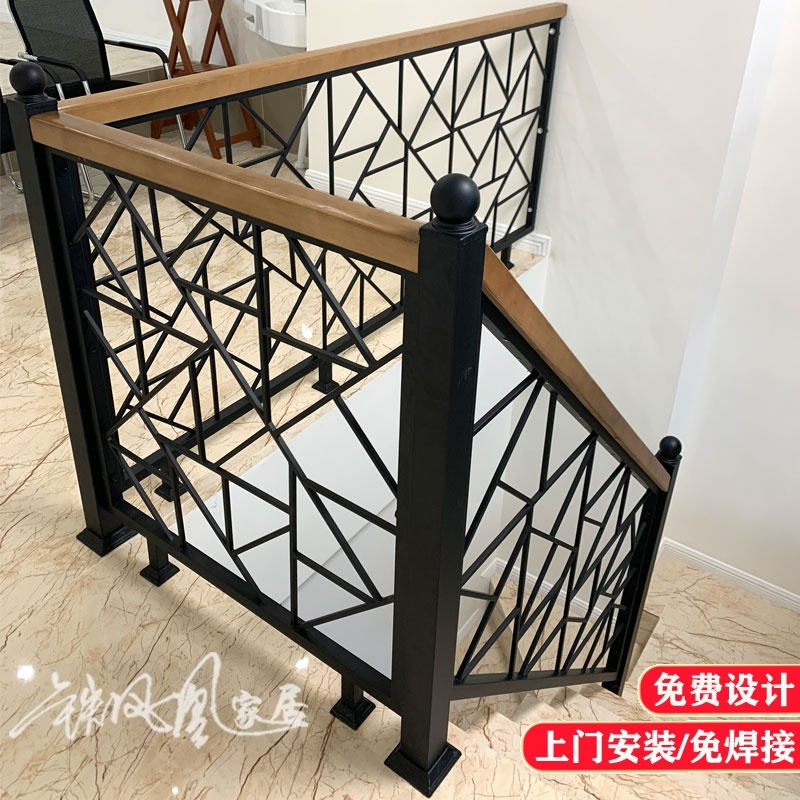 Simple Iron Stair Handrail Solid Wood Yang Staircase Attic | Iron Stair Railing Indoor | Cast Iron Balusters | Railing Kits | Interior Wrought | Rod Iron | Wood