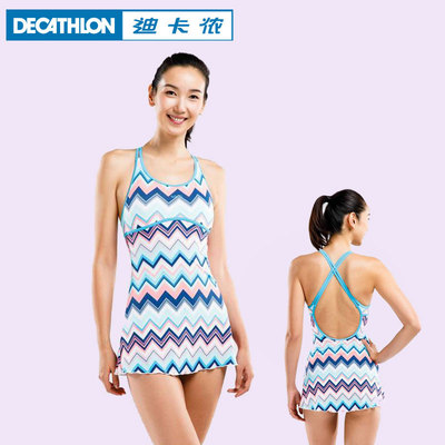 迪卡儂泳衣女連身遊泳衣保守裙式泳裝溫泉顯瘦遮肚性感NAB Z