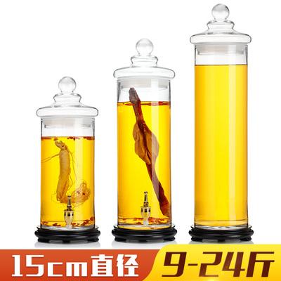 加高直筒泡酒瓶泡人參鹿鞭藥酒壇帶龍頭玻璃密封罐藥材陳列展示瓶