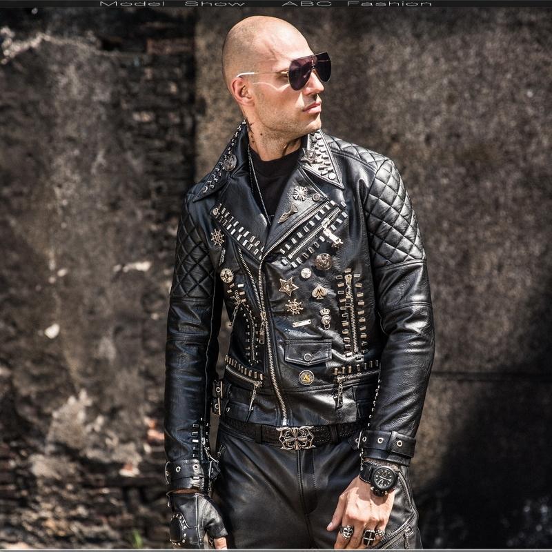 O1CN011azF5U8mLTtj7Y4 !!21903400 Motorcycle leather men's tide hip hop rivet punk lapel leather jacket trend Korean version of the diagonal zipper handsome