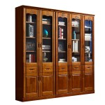Solid Wood Oak Bookcase Bookcase Bookcase With Glass Doors