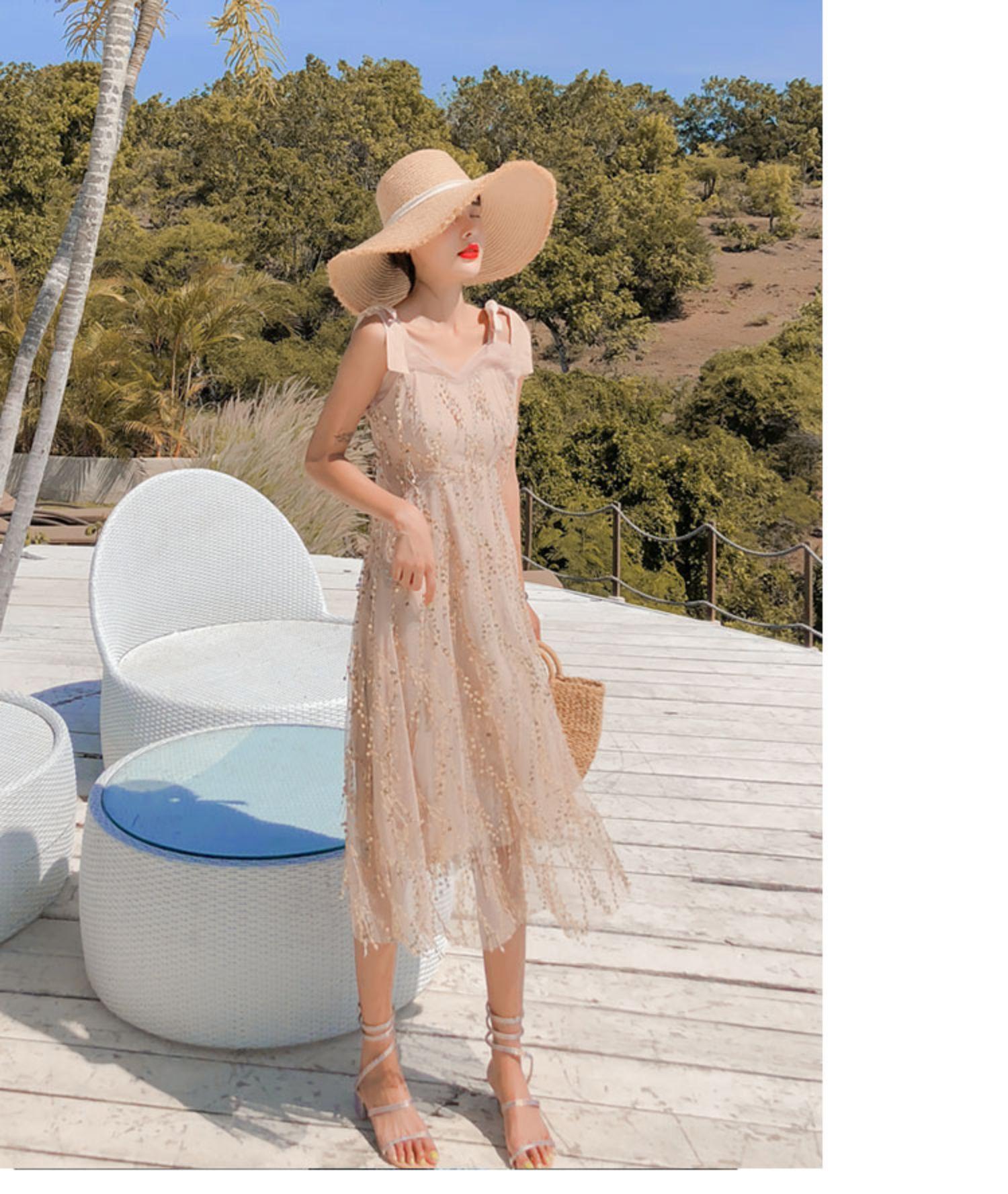 亮片吊帶裙穿搭洋裝超仙泰國巴釐島三亞沙灘裙海邊度假長裙女夏
