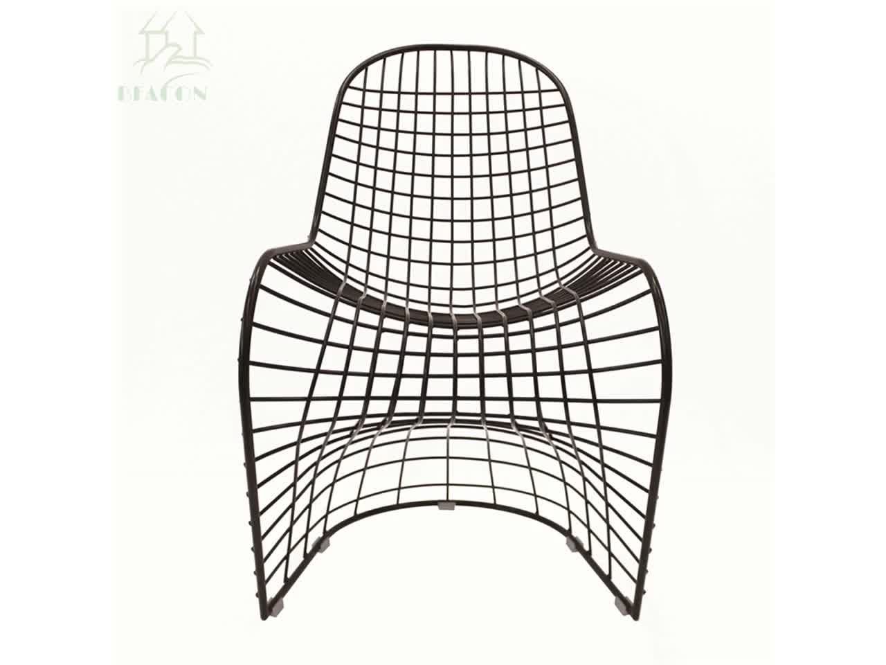 Stackable Metal Frame Yellow Wire Outdoor Chair