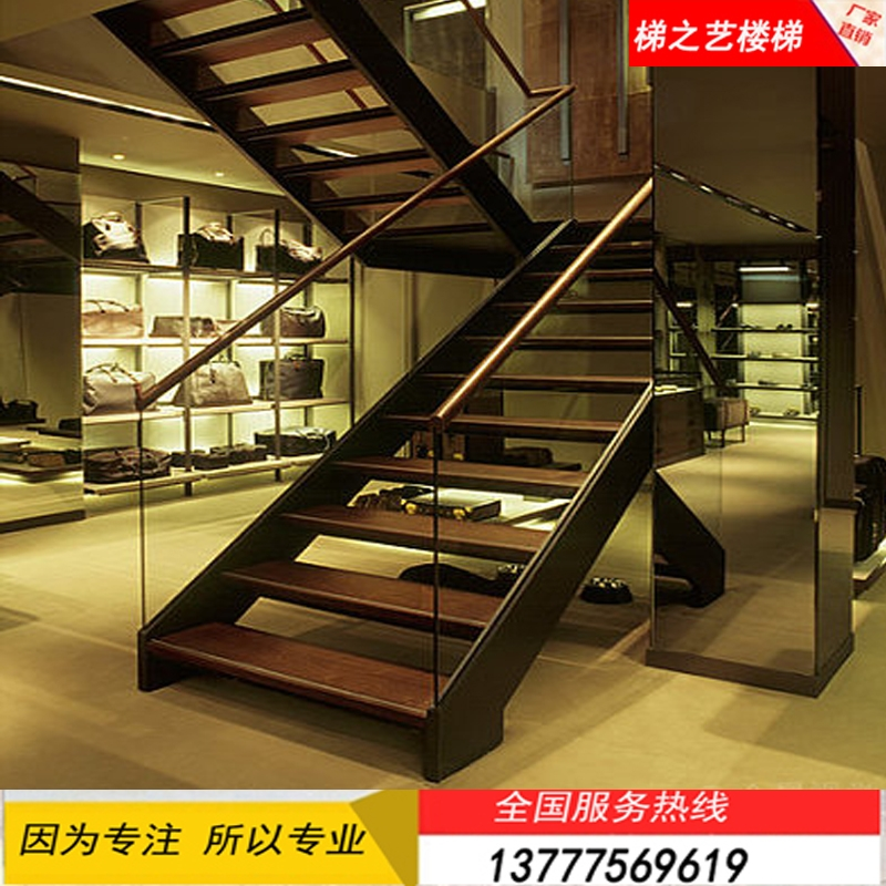 Usd 224 02 Custom Non Standard Steel Wood Solid Wood Double Beam   Steel And Glass Staircase   Living   Wood   Contemporary   Old House   Glass Design Golden