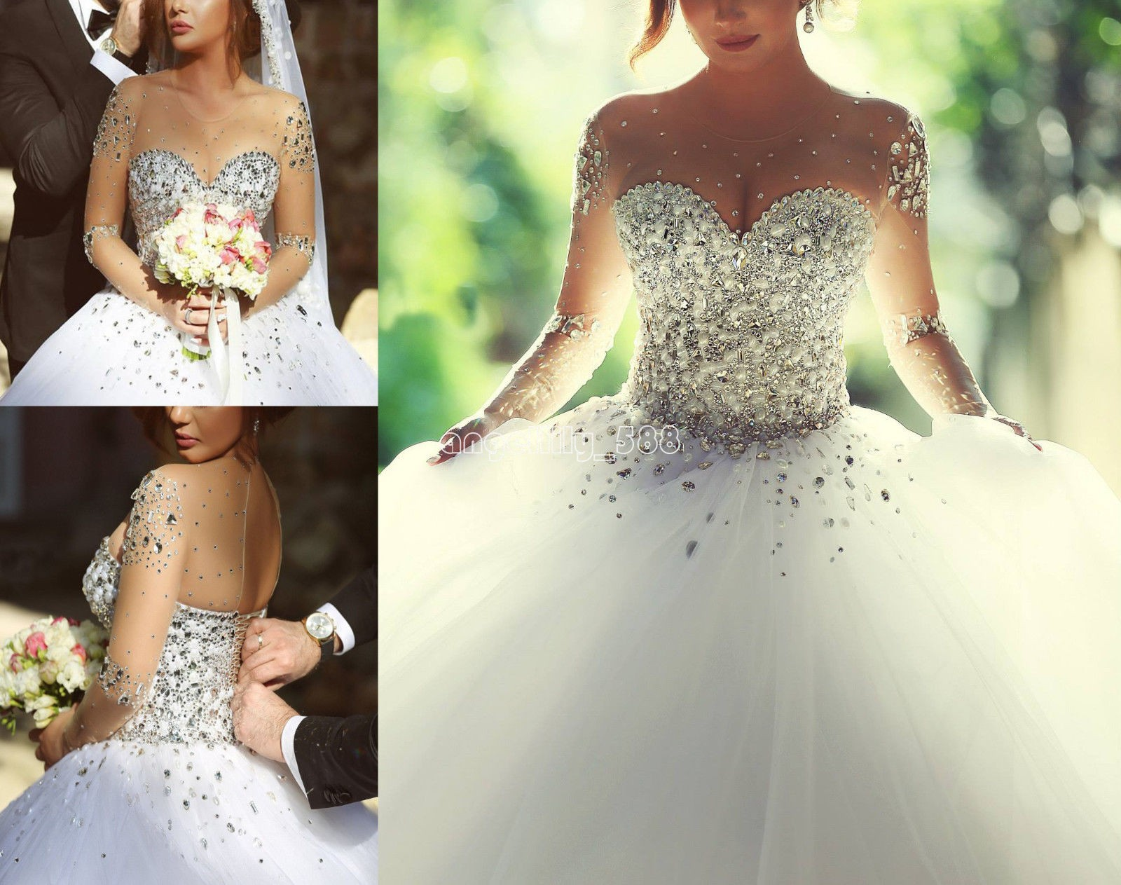2017 New Princess Ball Gown Crystal Wedding Dresses For