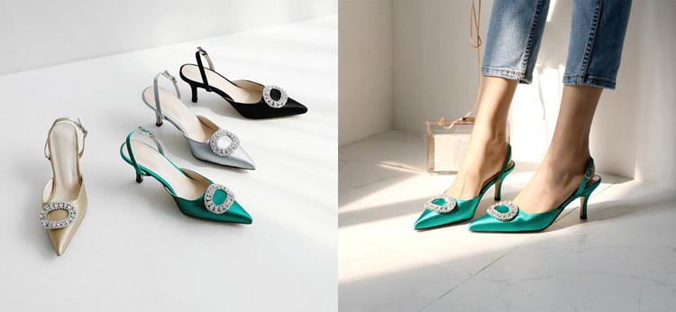 TB2fpvFwQ9WBuNjSspeXXaz5VXa !!862068005 Summer new stiletto pointed high heel rhinestone buckle sandals Satin Korean version of the wild Baotou female cool shoes