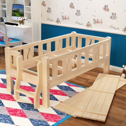 Children s bed with guardrail girl boy princess baby bed pine crib     Children s bed with guardrail girl boy princess baby bed pine crib widened  single bed solid wood