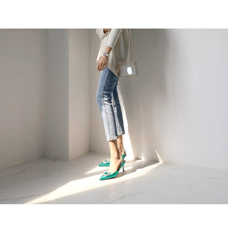 TB2cJpFw tYBeNjy1XdXXXXyVXa !!862068005 Summer new stiletto pointed high heel rhinestone buckle sandals Satin Korean version of the wild Baotou female cool shoes