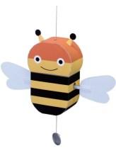 Papercraft imprimible y armable de una abeja con movimiento. Manualidades a Raudales.