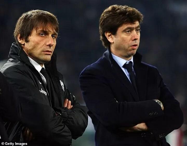 Antonio Conte shows MIDDLE FINGER to Juventus president Andrea Agnelli 4