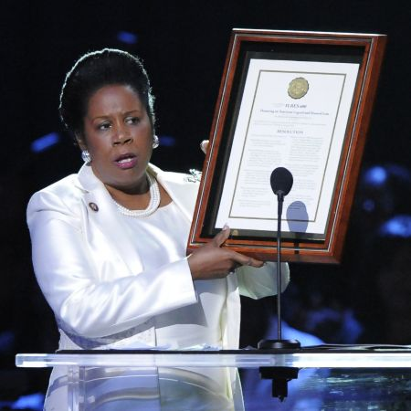 Congresswoman Sheila Jackson During the memorial service held at United Center in Los Angeles